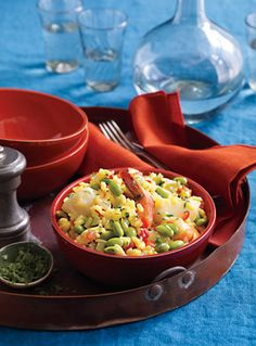 Seafood Paella with Edamame...  yield: Makes 4 servings                               Soybeans are the only complete vegetable protein, delivering all nine of the amino acids that help build fat-burning muscle.    Read More   http://www.epicurious.com/recipes/food/views/Seafood-Paella-with-Edamame-367830#ixzz2AEM0XfKw