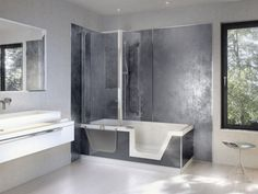 Walk In Tubs And Showers With Regard To Bathroom Contemporary Two Tone Combined Dark Gray Wall Color Photos