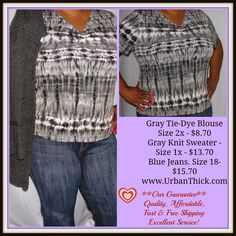 """Gray Tie-Dye Blouse -Size 2x by Only 9 -Polyester and spandex blend -Width 22/Length 25"""" -Jeans and Sweater Sold Separately -#plus #size-$8.70"""