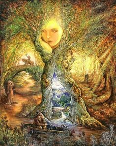 Willow World (off Trees) - Oil painting by Josephine Wall (born May 1947 in Farnham, Surrey), a popular English fantasy artist and sculptor. Josephine Wall, Beautiful Artwork, Cool Artwork, Art Expo, Beltane, Visionary Art, Wall Wallpaper, Amazing Art, Awesome