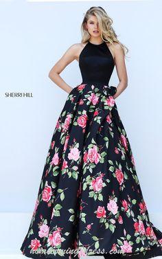 Black Halter 50333 Sherri Hill Floral Print Prom Dress 2016