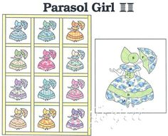 Parasol Girl Quilt Block Quilt Quilting Pattern Templates | eBay