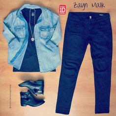Zayn Malik inspired #style #fashion #outfit #look #denim #jeans #shirt #black #boots #british #zaynmalik #1d #onedirection