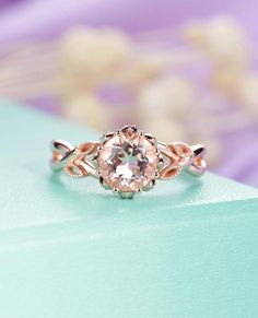 Morganite engagement ring rose gold engagement ring vintage