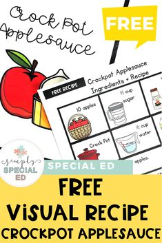 This FREE applesauce recipe is great for a special education or early childhood classroom or homeschool. Click to sign up for the download freebie. It's great at elementary, middle, or high school - depending on the life skills needs of kids. Use it in fall or any time of year where you want to focus on cooking skills. The crockpot prep makes it super easy! #SpecialEducation #LifeSkills #EarlyChildhood #ApplesauceRecipe #CrockpotApplesauce Middle School Classroom, High School, Cooking In The Classroom, Teaching Special Education, Special Needs Students, Teacher Hacks, Life Skills, Teacher Resources, Early Childhood
