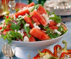 Melonsallad Best Salad Recipes, Vegetarian Recipes, Healthy Recipes, Food Crush, Just Eat It, Food Inspiration, Good Food, Food And Drink, Healthy Eating
