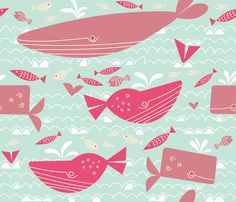 Whale sanctuary fabric by yellowstudio on Spoonflower - custom fabric