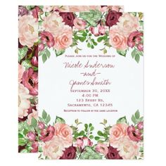 Marsala Maroon Burgundy Rustic Floral Wedding Card - wedding invitations diy cyo special idea personalize card