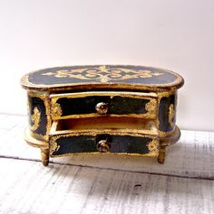 Vintage Black and Gold Gilt Italian Florentine by AloofNewfWhimsy