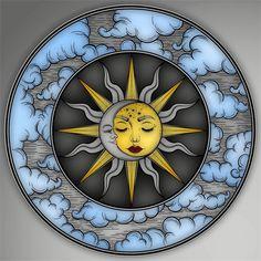 Trippy Painting, Diy Painting, Art Soleil, Mixing Paint Colors, Moon Sun Tattoo, Art Fantaisiste, Apple Watch Wallpaper, Star Tattoo Designs, Sun Art