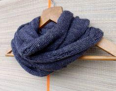 knit grey cowl scarf  knitted chunky by peonijahandmadeshop