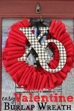 Valentine DIY. Easy Valentine Burlap Wreath Tutorial – Frugal Craft for Under $10. Valentine Home Decor. Valentine Wreath. #valentinesday #craft #burlapwreath