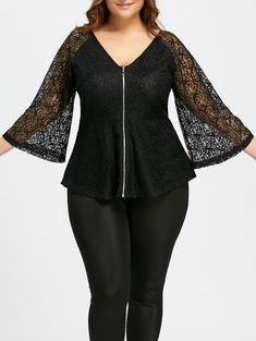Lace Plus Size Zip Up V-neck Blouse - BLACK XL