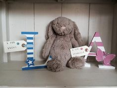 Large wooden letters. 15cm height.  Different colours and patterns available. £10.00