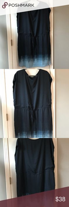 Navy/Light Blue ombré Dress H by Halston 1X Dress with drawstring at waist. 100% poly fully lined. Light and airy but very giving size-wise. Classy look. NWOT never worn. Length: 39 inches Bust armpit to armpit: 26 inches Waist left to right: 24 inches (can be cinched with drawstring at waist) H by Halston Dresses