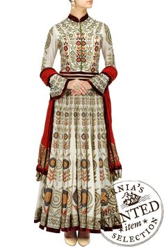 6986d96ae5c DIVA NI-Ivory zari and resham embroidered anarkali set perniaspopupshop.com  Indian Fashion
