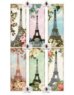 BOOKMARK Digital collage sheet Glamour Paris digital sheet printable download shabby chic scrapbooking digital downloads.