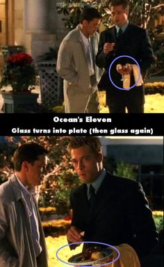 Ocean's Eleven movie mistake picture (ID Geek Movies, Pixar Movies, Sci Fi Movies, Movie Tv, Oceans Series, Oceans 11, Batman Begins, Brad Pitt, Movie Mistakes
