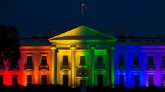 The White House is lit up in rainbow colors in commemoration of the Supreme Court ruling to legalize same-sex marriage.