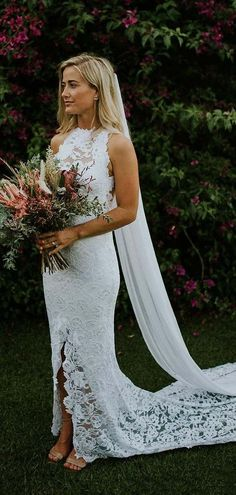 Mermaid Crew Open Back Sweep Train White Lace Wedding Dress with Split.  cheap white lace long wedding dresses for bride ... 14c50f9cb367
