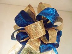 Christmas Tree topper bow Teal Blue Glitter and Gold SEQUIN Ribbon 8 ft tails and 6 matching ornament bows by creativelycarole on Etsy