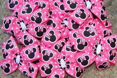 10 Minnie Mouse Birthday Favor Hair Bows  Pink and by innavert, $22.00