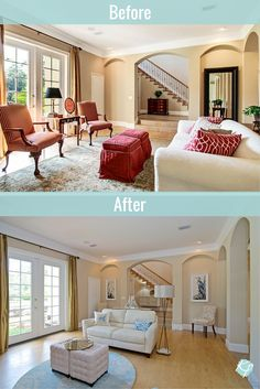 Many homeowners clutter their spaces, making them feel small and busy. They may also use dark wall colors or have outdated flooring that contributes to the overall negative vibe of a room. By updating the paint, flooring and window treatments in your home, I can completely change the look and feel of any room.