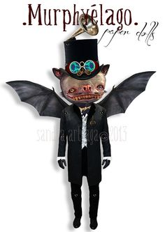 Murphyelago -  Halloween prop articulated Paper Doll - 13.4  inches - gentleman bat wings musician creatures freak vampire art doll