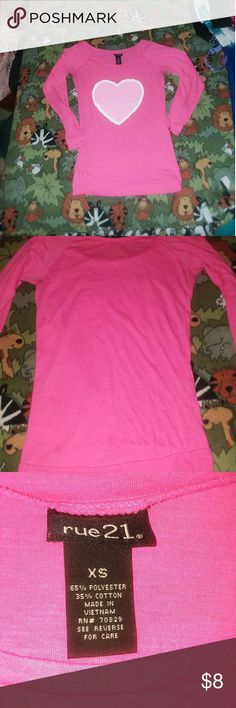 Rue 21 Pink heart Top Very cute pink top with heart worn once in excellent condition Rue 21 Tops