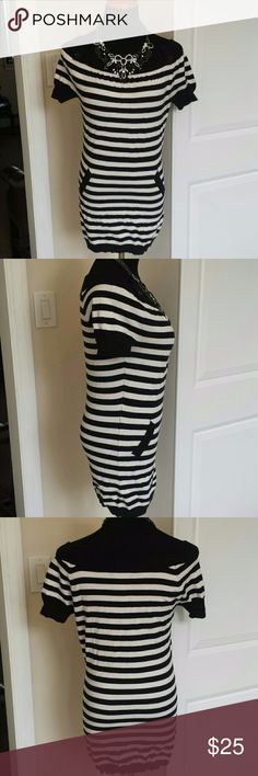 INC Boat Neck Striped Sweater Dress Tunic Super cute soft and very stretchy sweater dress from INC International Concepts. Tiny hole on left side directly on seam. Super easy fix if you're handy with a needle. Feel free to make an offer! INC International Concepts Dresses