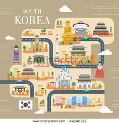 lovely South Korea travel poster in flat style  - stock vector