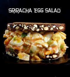 Sriracha Egg Salad on Oatmeal Walnut Poppy Seed Bread