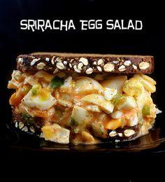 Sriracha Egg Salad and Homemade Oatmeal Walnut Poppy Seed Bread #recipe