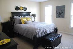 like yellow and gray with dark/black furniture. art- can also use my cricut vinyl over old wood laminate flooring leftovers