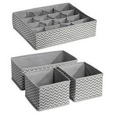 InterDesign Chevron Fabric 4-Piece Nursery Drawer or Changing Table Organizer (Multi-Pack) - Gray/Cream : Target
