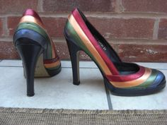 Shelly Ltd edition rainbow shoes Rainbow Shoes, Rainbows, Fashion Boots, Wedding Shoes, Cinderella, Shoe Boots, Christian Louboutin, Kicks, High Heels