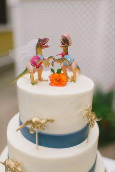 Bride and Groom Dinosaur Cake Topper