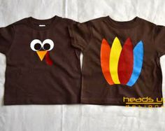 Toddler Thanksgiving Turkey t shirts Twins Boy/Girl - Twin Baby Turkey Onesies - Sibling/Youth Adult Turkey Face/Feather - Coordinating -