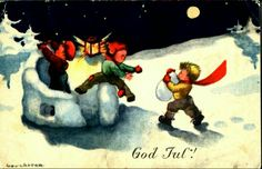 Julekort Anna Eline Coucheron  1940-tallet Christmas Postcards, Christmas Cards, Norway, Anna, Painting, Christmas E Cards, Xmas Cards, Painting Art, Paintings