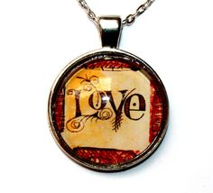Items similar to Love word vintage pendant necklace glass dome cabochon silver chain beautiful gift round pendant Brown vintage Amore letters on Etsy Handmade Bracelets, Handmade Jewelry, Unique Jewelry, Handmade Gifts, Round Pendant, Glass Domes, Love Words, Glass Pendants, Pendant Necklace