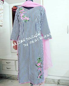 Contact us at 8146422477 Punjabi Suit Boutique, Punjabi Suits Designer Boutique, Boutique Suits, Kurti Sleeves Design, Kurti Neck Designs, Sleeve Designs, Embroidery Suits Punjabi, Embroidery Suits Design, Bridal Anarkali Suits