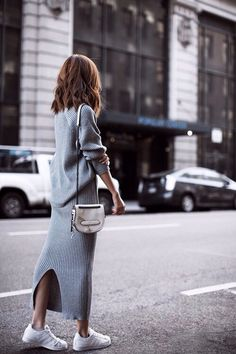 sweater dress street style, perfect weekend outfit inspo.