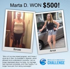 ::09/20/13:: Working out with #SlimIn6 + drinking #Shakeology helped Marta shed 48 lbs, and she won $500 in the #BeachbodyChallenge! REPIN and LIKE to give her two thumbs up!