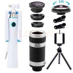 8X Telephoto Zoom Lentes 235 Fisheye Lens Wide Angle Macro Phone Mini Selfie Stick Camera lenses Kit For iPhone 6 7 Xiaomi