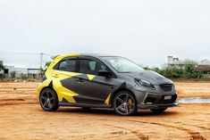 Check out this stunning Honda Brio wrap! It features Avery Matte Metallic Charcoal and Gloss Yellow laid out in a contrasting and unique design, wrapped by