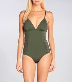L*Space Bella One Piece || Break the mold with this simple, sexy and ultra-flattering deep green one piece. Side panel ruching and removable pads add comfort, shape and support.