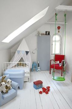 Bright Green Indoor Swing in Childrens Room. Snug but cute room.
