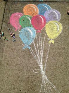 Balloons sidewalk chalk - - Chalk Art İdeas in 2019 Chalk Wall, 3d Chalk Art, Chalk Design, Art Disney, Sidewalk Chalk Art, Pics Art, Chalk Pictures, Chalkboard Art, Art Drawings