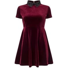 Miss Selfridge PETITE Burgundy Velvet Skater Dress ($68) ❤ liked on Polyvore featuring dresses, burgundy, petite, collar dress, purple skater dress, burgundy skater dress, cutout dresses and burgundy skater skirt