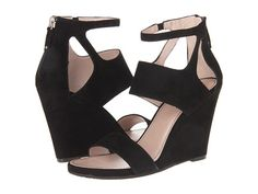 DKNY Hara - Ankle Strap Wedge 100mm Black Suede - 6pm.com